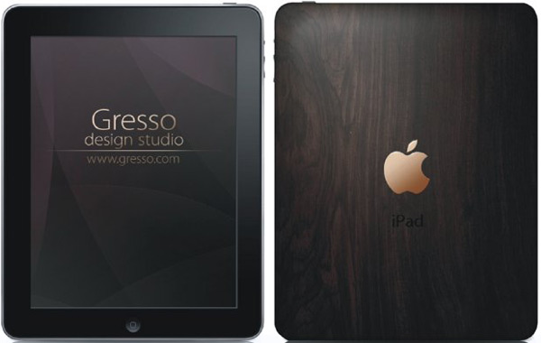 Gresso classies up the iPad with 18k gold logo and ancient wood case