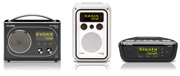 Pure Evoke Flow, Oasis Flow and Seista Flow Internet Radios
