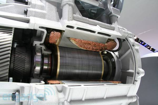 Ford Focus Electric motor extracted, split asunder, coppery guts exposed