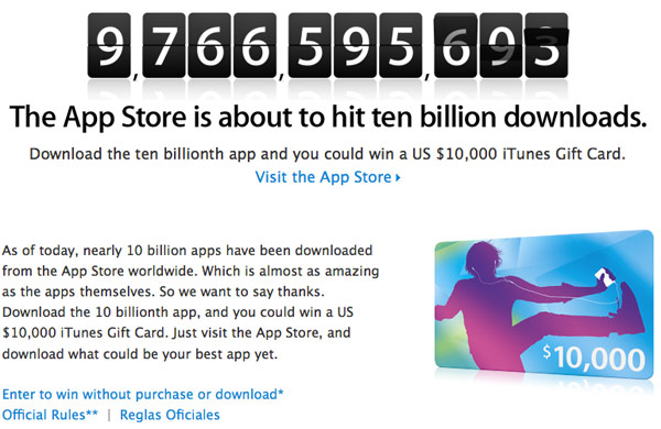 Apple Closes on Ten Billion Downloads in App Store