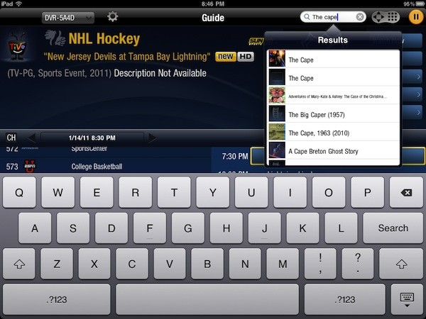 Searching on the TiVo Premier App for iPad
