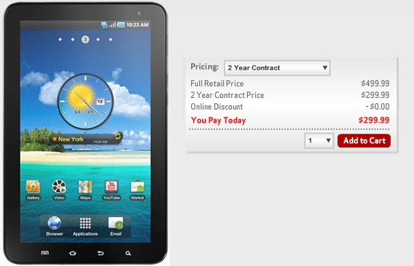 Verizon Now Offering 7-inch Galaxy Tab for $300