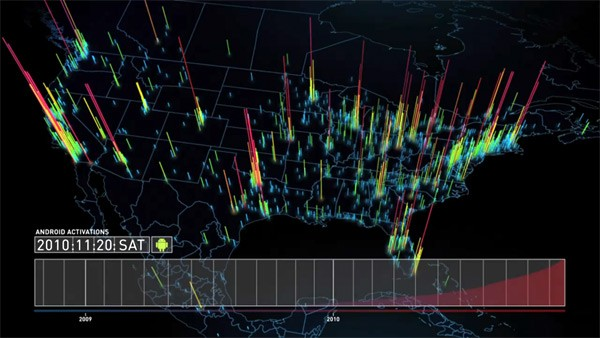 Android Activations Mapped Geographically, Chronologically