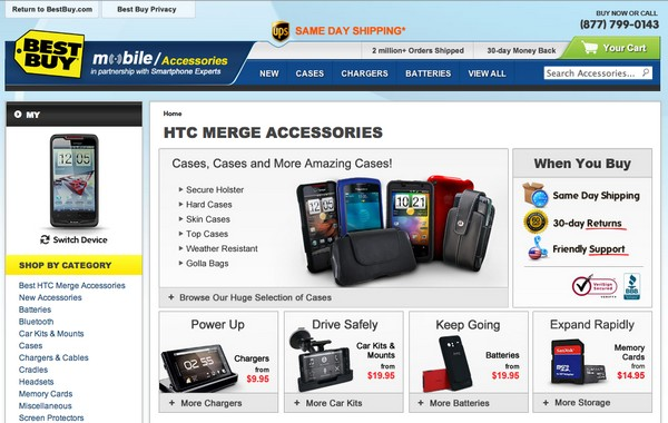 Droid Bionic and HTC Merge hit Best Buys site, accessories galore