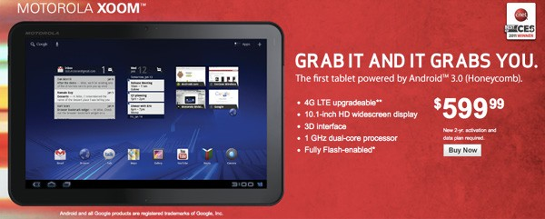 Motorola Xoom Now Available for Purchase Straight from Verizon