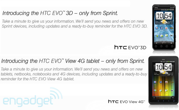 HTC EVO 3D and EVO View 4G tablet spotted — on Sprint's website, where else?