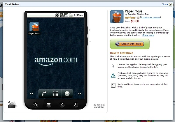 3 27 11 amazon android vm Amazon.com lets you play with an Android virtual machine, try apps before you buy them