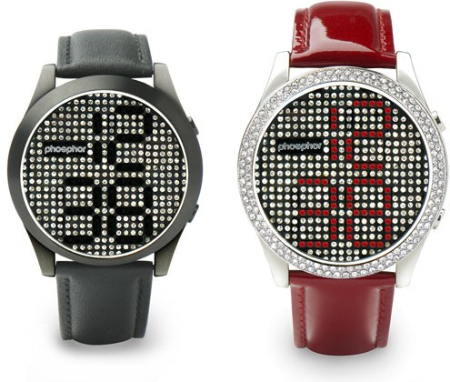 Phosphor Stone http://www.engadget.com/2011/03/07/phosphors-reveal-wristwatch-uses-swarovski-crystals-to-tell-tim/