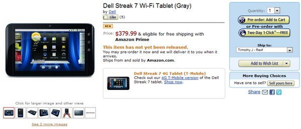 Dell Streak 7 gets certified in Wi-Fi-only form, shows up on Amazon for pre-order