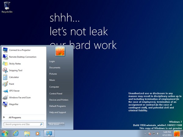 Windows 8 leaked, caught looking a lot like Windows 7