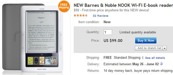 nook wifi on ebay