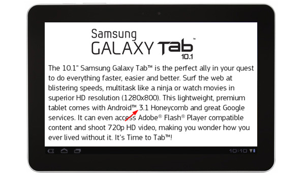 Samsung Galaxy Tab 10.1 May Ship with Android 3.1 Onboard