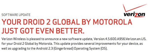 Droid 2 Global gets Gingerbread, customizable dock and more in latest update from Verizon