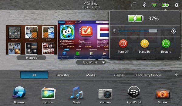PlayBook power menu