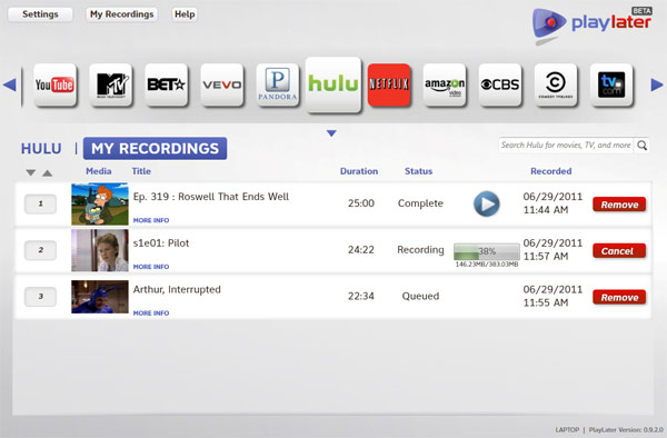 PlayLater brings DVR to internet video