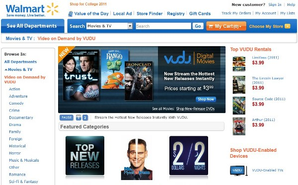 2011 07 26walmartvudu Walmart brings Vudu into the fold, still cant stream you tube socks