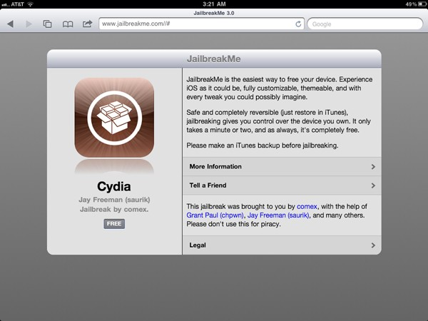 JailbreakMe for the iPad 2 is finally live / not live, just keep refreshing