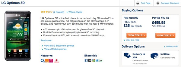 LG Optimus 3D now available SIM-free for 500 at Carphone Warehouse