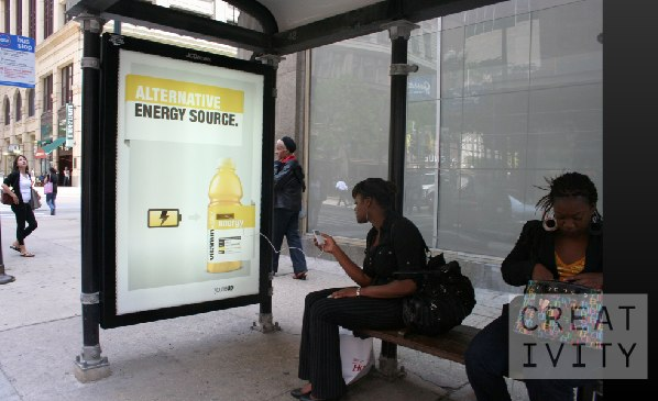 Vitamin Water bus-stop ad lets devices juice-up before the commute