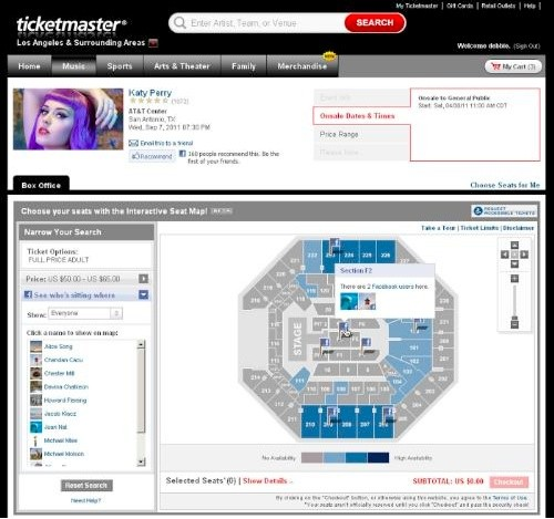 Ticketmaster's interactive seat map brings Facebook stalking to ...