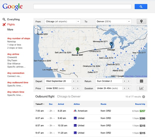 google launches flight search