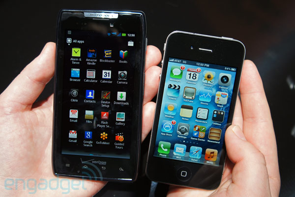 Motorola Droid RAZR and Apple iPhone 4
