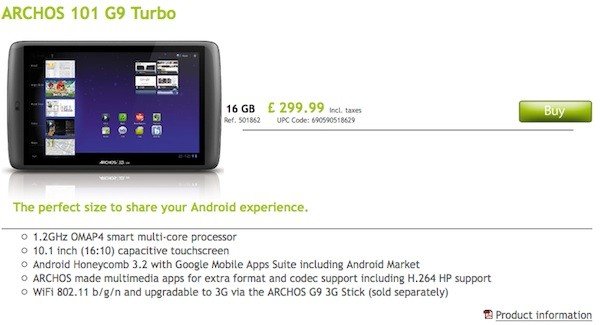 Speedier Archos 101 G9 Turbo tablet hits the autobahn