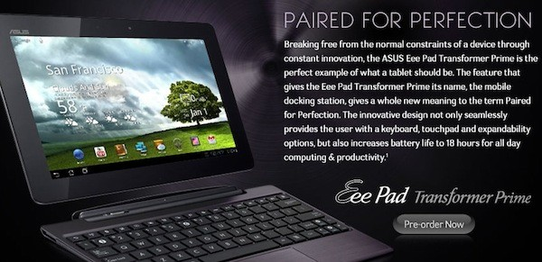 ASUS Transformer Prime goes up for pre-order in North America, banks