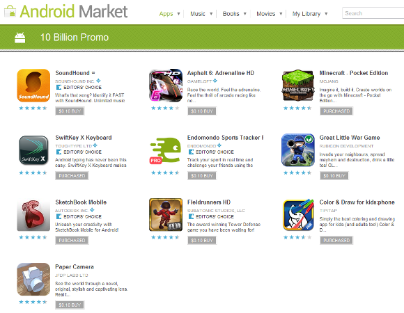 Download Premium Android Apps At $0.1 Only, Celebrate 10 Billion Downloads Of Android Market