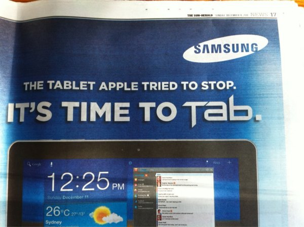 Samsung Takes Aim at Apple with Australian Galaxy Tab Ad