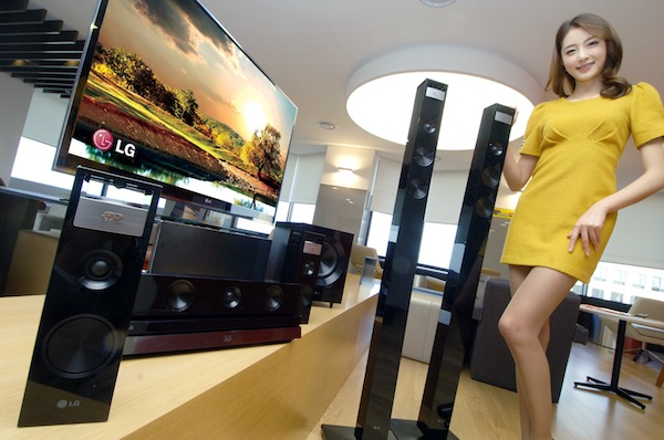 Lg home theater system adds vertical speakers for 9 1 surround sound