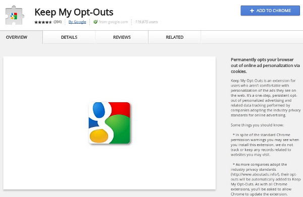 2 24 2011keepmyopt outs Google tests the do not track waters with a Chrome extension