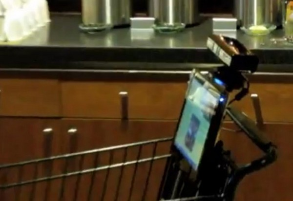 Kinect Grocery Cart: Robot Grocery Cart Outfitted With Microsoft Kinect Camera System (VIDEO)