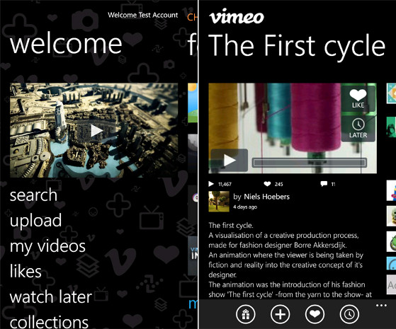 Vimeo for Windows Phone