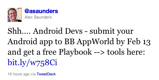 Fancy a free Blackberry Playbook? Just submit an Android app!