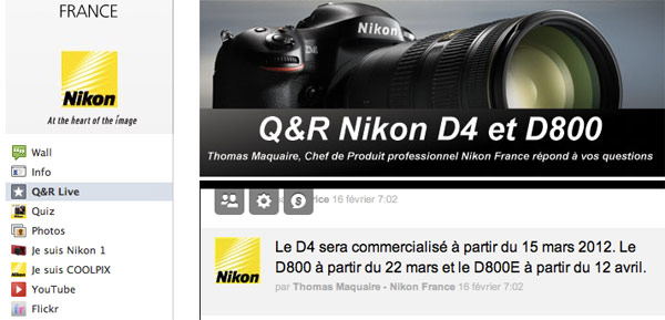Nikon D4 and D800 to ship in March, but only in the land of the baguette?