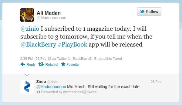 Zinio magazine app to rock BlackBerry PlayBook like a hurricane in mid-March