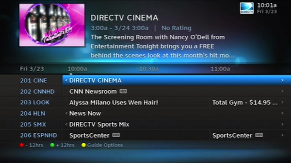 DirecTV HD user interface