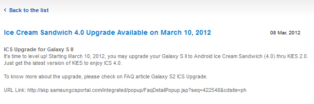 gs2ics Android Ice Cream Sandwich 4.0 da domani per Samsung Galaxy S 2?