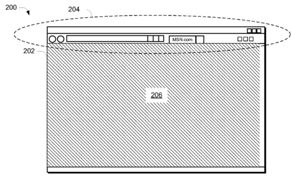 microsoft branded browser bar Microsoft patent application details branded web browser frame