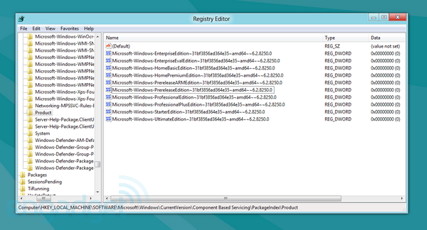 Windows 8 registry confirms Professional Plus version, nine retail flavors to choose from