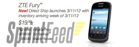 ZTE Fury coming to Sprint on March 11th for $  20