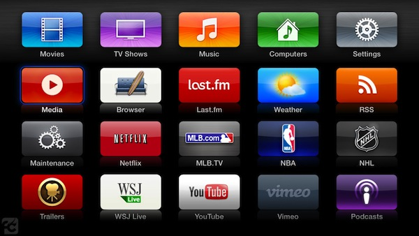 atvb menu2 aTV Flash (black) for Apple TV hits version 1.5, brings new player, NFS streaming and more