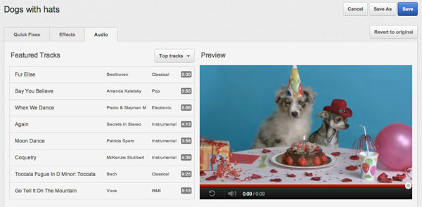 YouTube wants more videos to have background music, adds audio editor
