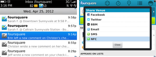 Foursquare adds NFC to its BlackBerry app, hopes you'll touch base