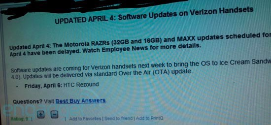Android 4.0 set to arrive for HTC Rezound today, Droid RAZR and RAZR Maxx see delays