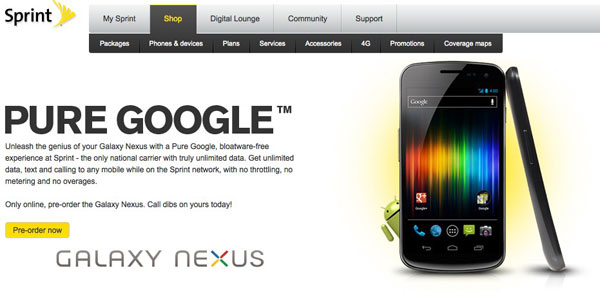 Sprint confirms Galaxy Nexus release date: coming April 22nd for $200