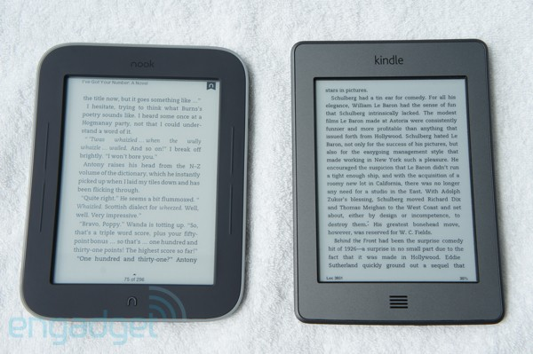 Barnes and Noble Nook with GlowLight and Amazon Kindle