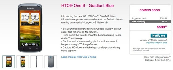 HTC One S shows up on T-Mobile's site, reveals its $599 price