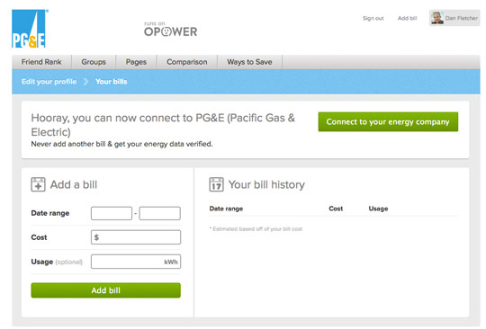 Facebook oPower energy usage
